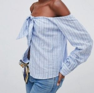 Free People Hello Beautiful Off Shoulder Top L